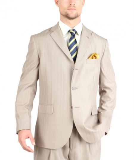 Beige Mens Three Button Tone on Tone Shadow Stripe Suit, act now only $135.00