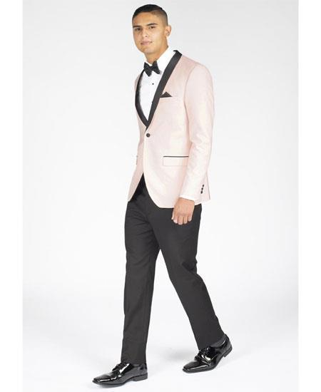One Button Blush Pink Single Breasted Slim Fit Mens Suit, act now only $199.00