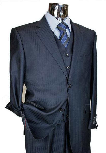 Two Button Style Italian Designer Mens Suit In Navy, act now only $199.00