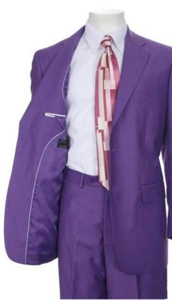 Mens Purple Three Button Style Multi Stage Party Suit, act now only $125.00