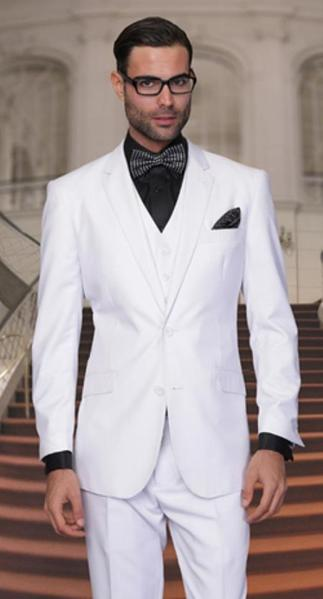 White Two Button Style Side Vented Suit For Mens, act now only $175.00