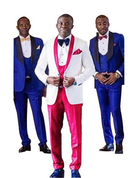 Buttons Closure White and Hot Pink Single Breasted Mens Tuxedo, act now only $350.00