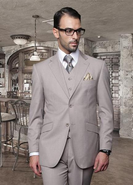 Two Button Style Beige Stitched lapel Mens Suit, act now only $225.00