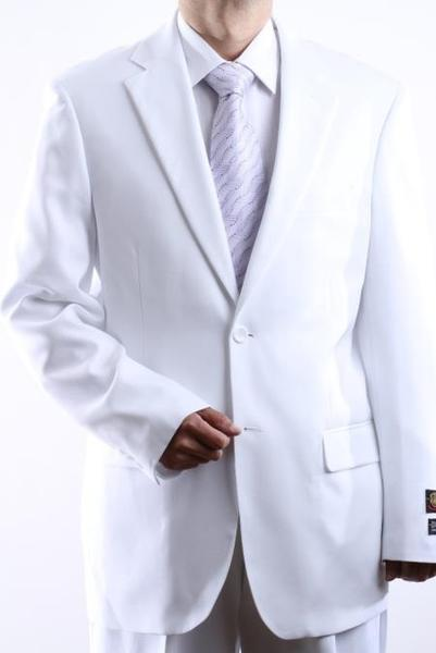 Two Button Style  White Mens Side Vent Pleated Suit, act now only $99.00