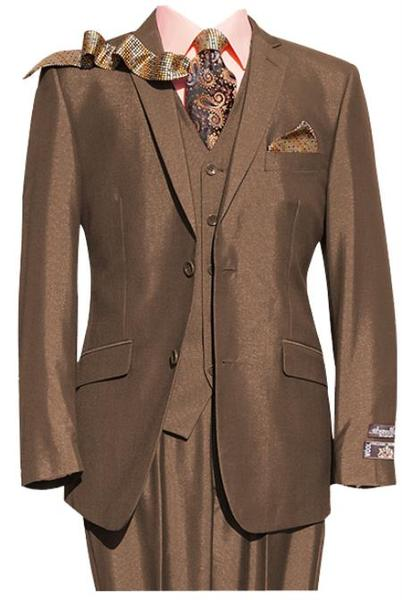Mens Rust Light Brown Two Button Three Piece Notch lapel Suit, act now only $149.00