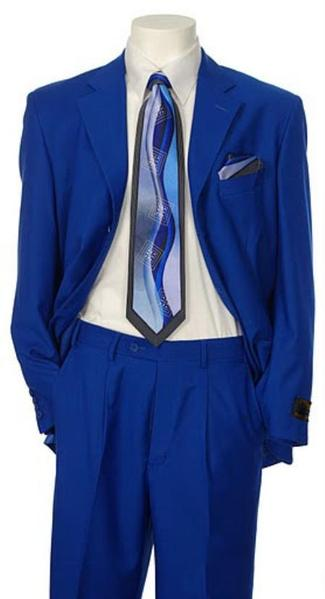 Three Button Mens Royal blue Single breasted Suit, act now only $135.00