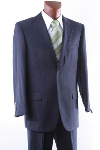 Navy Pinstripe Mens Two Button Style Suit, act now only $165.00