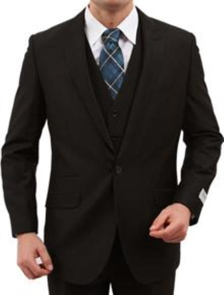 One Button Black sharskin Side Vents Slim  Fit Mens Suit, act now only $165.00