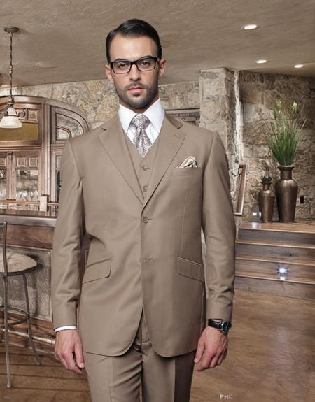 Bronze Two Button Style Stitched lapel Mens Suit, act now only $175.00