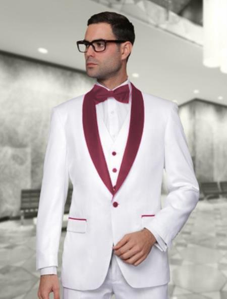 One Button White and Burgundy Mens Wedding Tuxedo, act now only $225.00