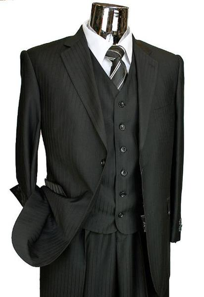 Two Button Style Mens Liquid Jet Black Italian Suit, act now only $199.00