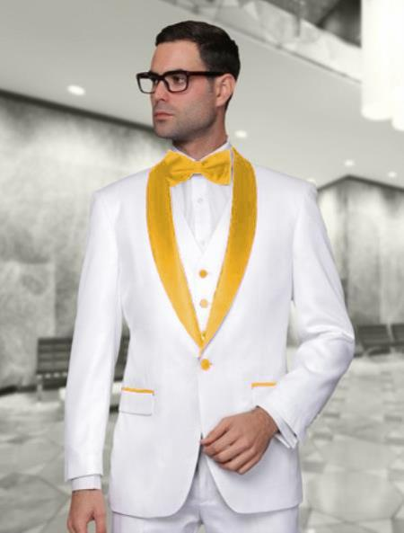 One Button White and Gold Vested Shawl Lapel Mens Suits, act now only $225.00
