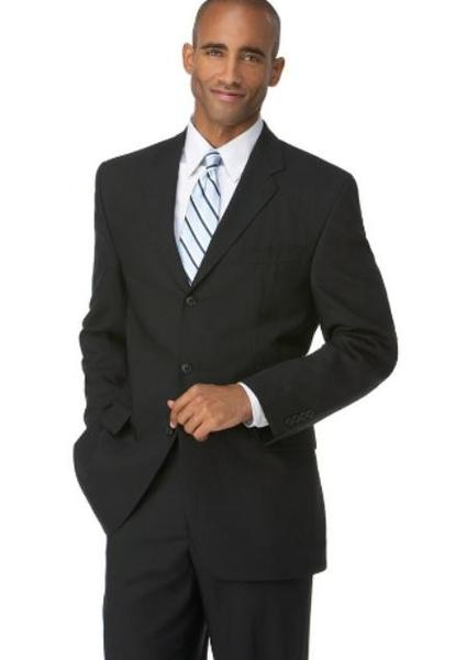 Mens Liquid Jet Black Three Button Style Polyester Suit, act now only $109.00