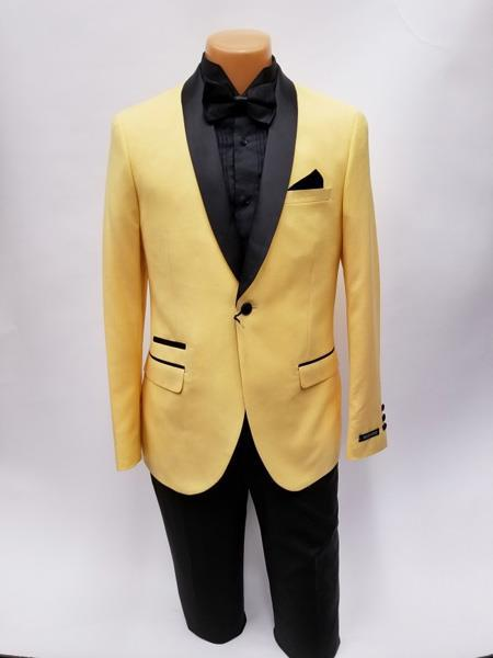 One Button Shawl Lapel Ticket Pocket Yellow Mens Suit, act now only $199.00