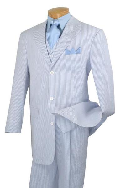 Mens Baby Blue Three Button Style Summer Seersucker Suit, act now only $135.00