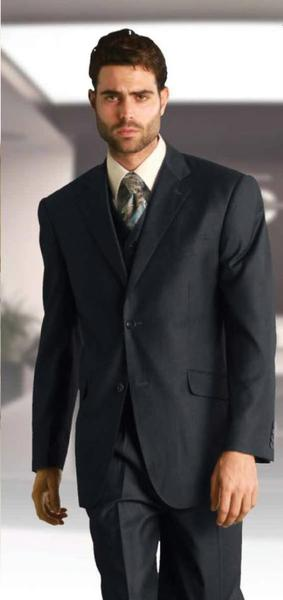Two Button Style Dark Grey Three Piece Fabric Suit, act now only $225.00