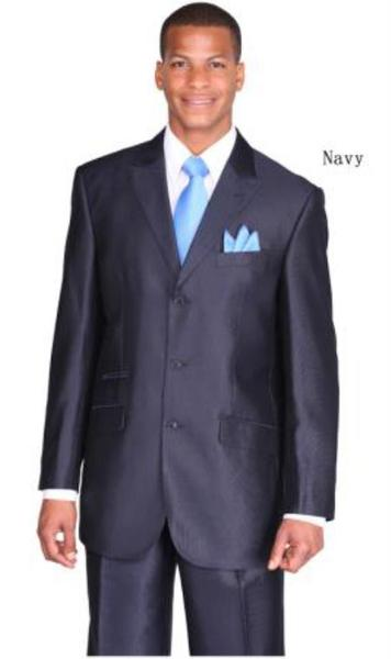 Mens Three Button Style Peak Lapel Navy Suit, act now only $115.00