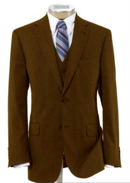 Two Button Style Mens Wool Fabric Brown Suit, act now only $240.00