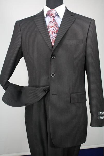 Mens Three Button Style Liquid Jet Black Stripe Suit, act now only $135.00