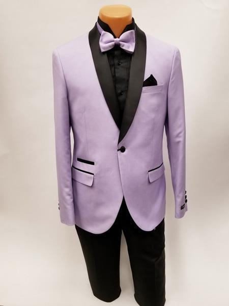 Lavender One Button Shawl Lapel Single Breasted Mens Suits, act now only $199.00