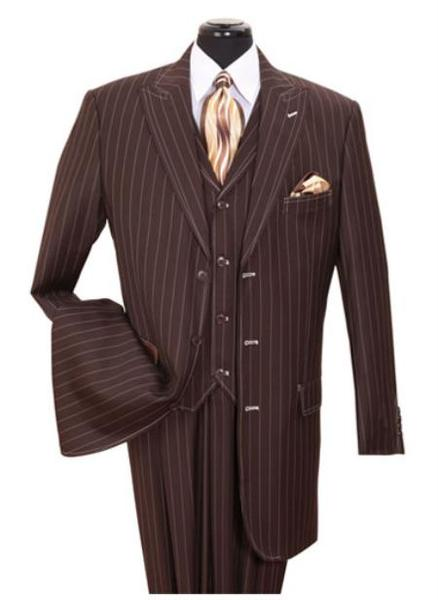 Mens brown color shade Vested Three Piece pronounce visible Suit, act now only $135.00