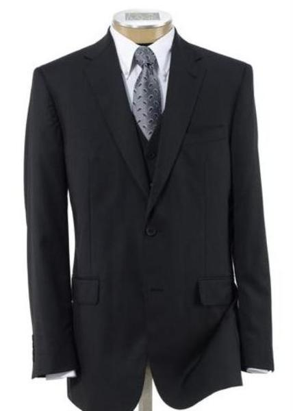 Two Button Style Mens Wool Fabric Suit In Liquid Jet Black, act now only $199.00