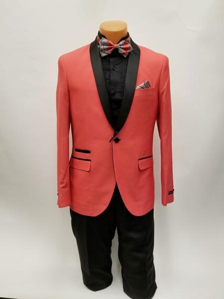 Flap Two Pockets Coral One Button Shawl Lapel Mens Suit, act now only $199.00
