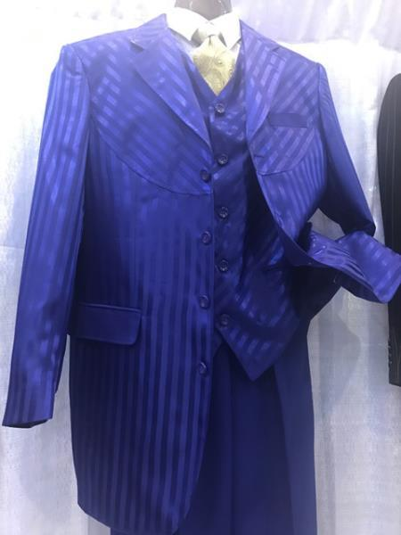 Three Button Mens Royal Blue Style Pinstripe Suit, act now only $135.00