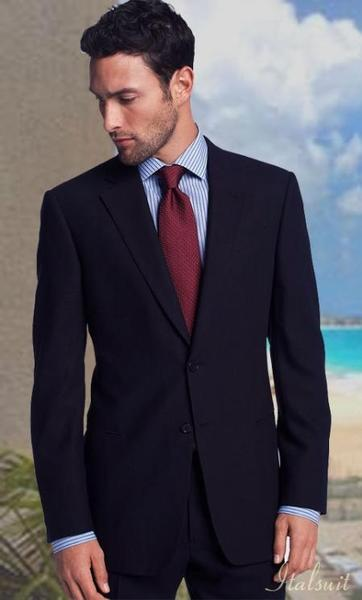 Two Button Style Classic Relax Mens  Suit In  Navy, act now only $199.00