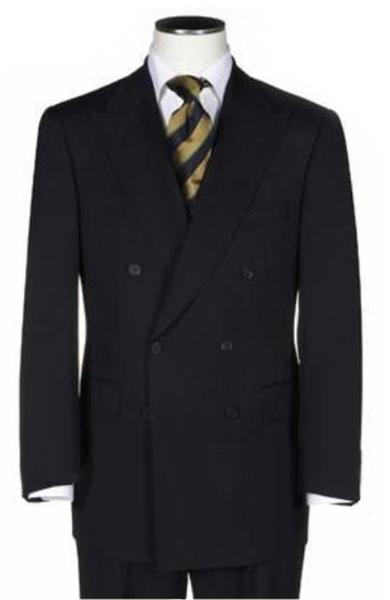 Solid Black Double Vent Double Breasted Mens Suit, act now only $169.00