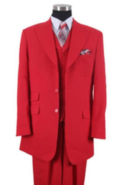 Mens Red Three Button Style Peak Lapel Vested Suit, act now only $115.00