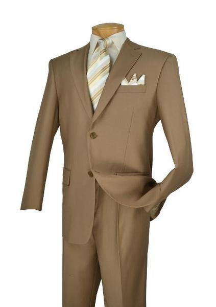 Solid Khaki Notch Lapel Two Button Style Mens Suit, act now only $175.00
