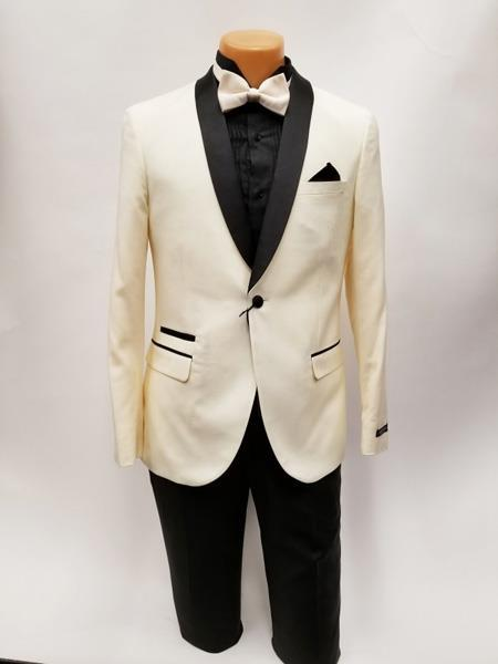 Ivory One Button Ticket Pocket Shawl Lapel Suit For Mens, act now only $199.00