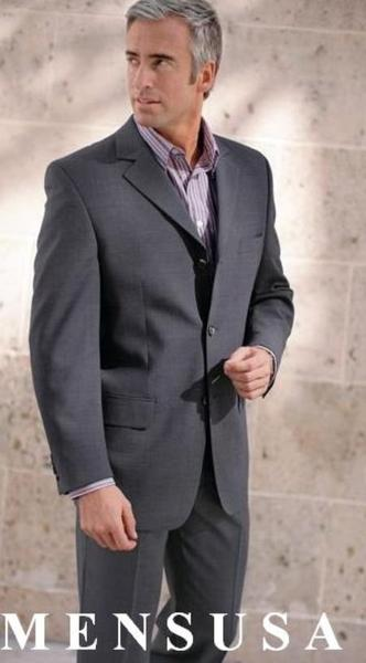 Three Button Style Mens Wool Fabric Gray Suit, act now only $135.00