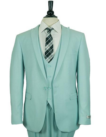 Sky Blue Single Breasted One Button Mens Suit, act now only $199.00