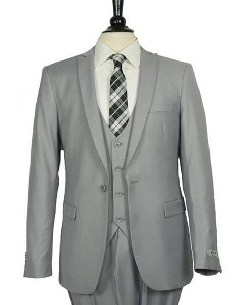 Grey Peak Lapel One Button Mens Slim Fit Suit, act now only $199.00