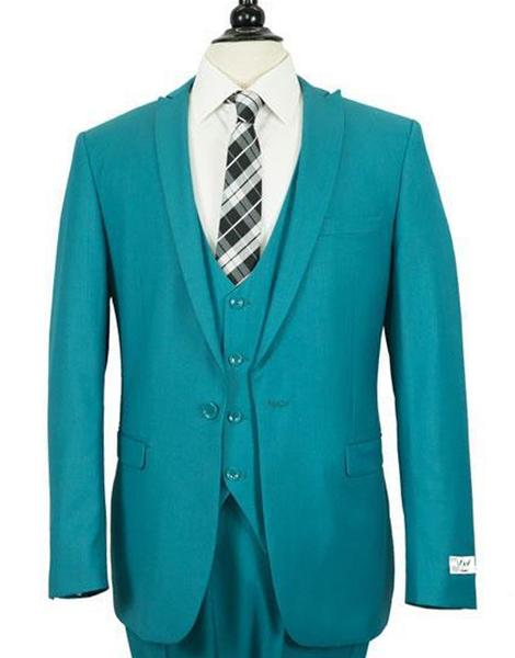Dark Cyan One Button Peak Lapel Slim Fit Suit For Mens, act now only $199.00