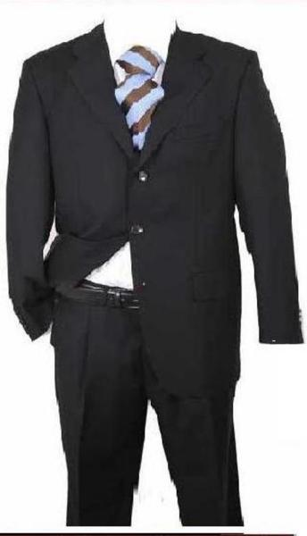 Three Button Style Mens Liquid Jet Black Suit, act now only $139.00