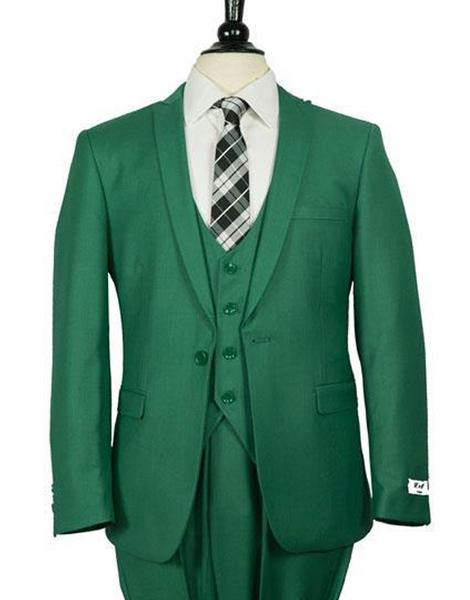One Button Mens Green Single Breasted Slim Fit Suit, act now only $199.00