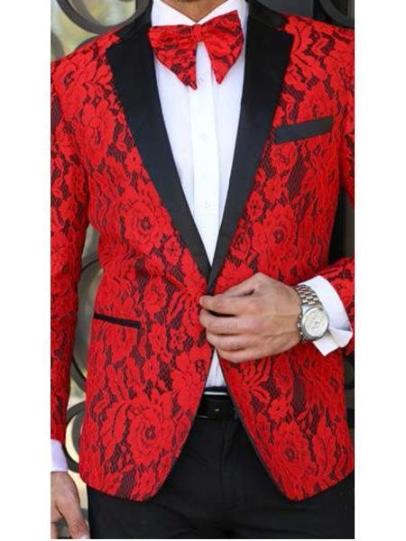 One Button Mens Red Black Floral Designed Suit, act now only $199.00