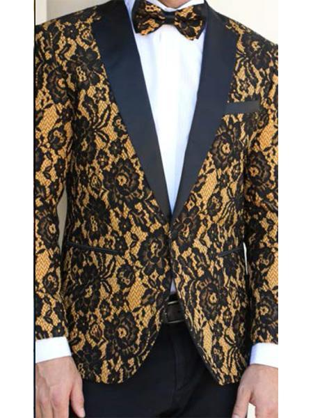 One Button Black Camel Floral Designed Mens Suit, act now only $199.00