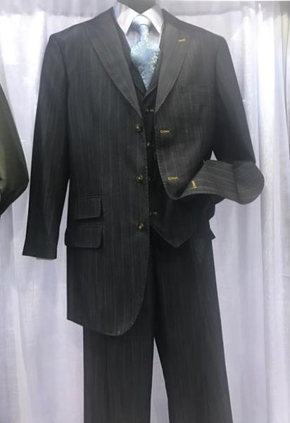 Three Button Style Mens Charcoal Milano Moda Suit, act now only $135.00