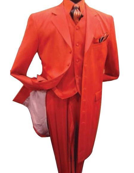 Mens Red Three Piece Vested Zoot Fashion Prom Suit, act now only $165.00