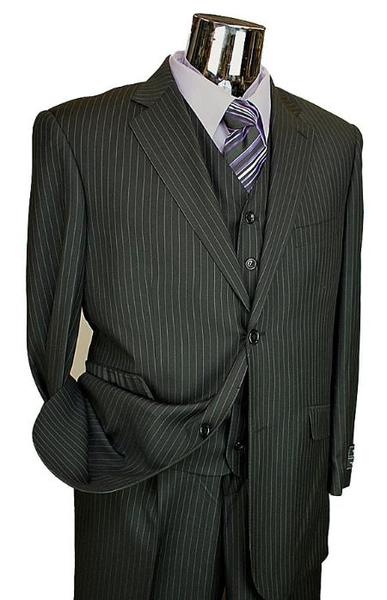 Liquid Jet Black Two Button Style Mens Suit, act now only $199.00