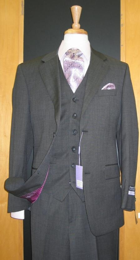 Two Button Dark Grey Wool And Cashmere Flat Front Three Piece Suit, act now only $149.00