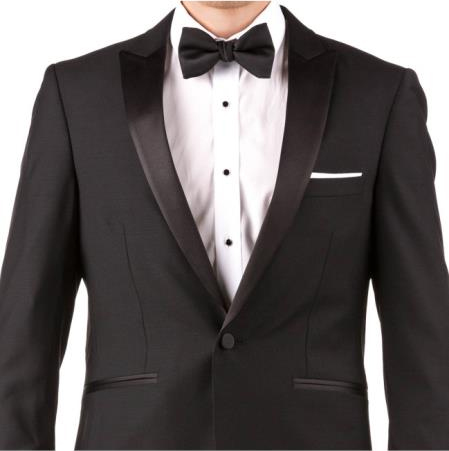 Slim Fit Tuxedo - Men's Slim Fit Suit Men's Black 100% Super 140s Merino Wool Suit, act now only $175.00