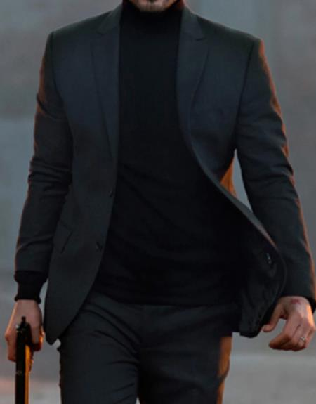 Men's John Wick Charcoal Or Black Suit Costume With Matching Turtle Neck Sweater, act now only $99.00