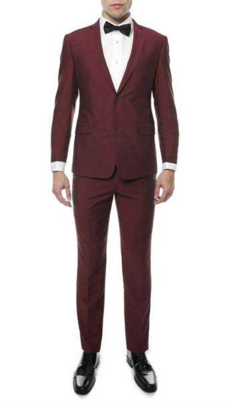 Mens Burgundy Slim Fit Suit, act now only $120.00