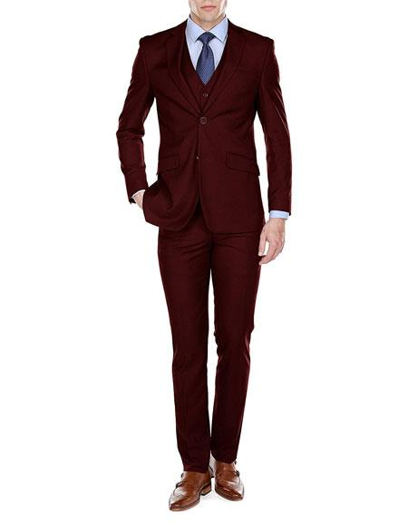 Mens Burgundy Slim Fit Suit, act now only $114.00