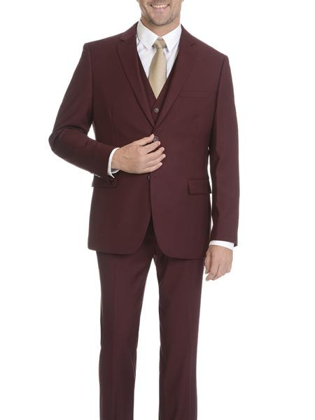 Mens Burgundy Slim Fit Suit, act now only $129.00